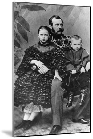 Tsar Alexander II of Russia with His Daughter Maria and Son Sergei, C1860-C1862--Mounted Giclee Print
