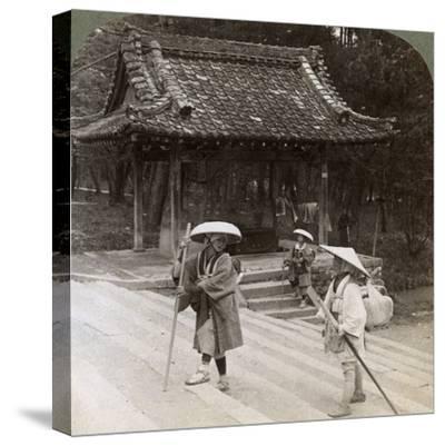 Women Pilgrims on the Steps of Omuro Gosho, Kyoto, Japan, 1904-Underwood & Underwood-Stretched Canvas Print
