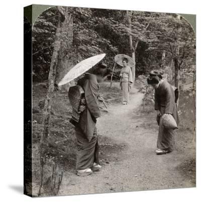 Women in the Kinkaku-Ji Temple Garden, Kyoto, Japan, 1904-Underwood & Underwood-Stretched Canvas Print