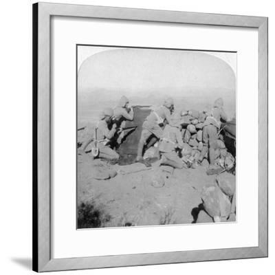 Troops Defending New Zealand Hill, Slingersfontein, South Africa, 25th January 1900-Underwood & Underwood-Framed Giclee Print