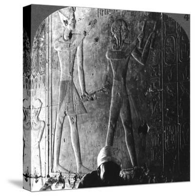 Sethos I and His Son Ramses II Worshiping their Ancestors, Abydos, Egypt, C1900-Underwood & Underwood-Stretched Canvas Print