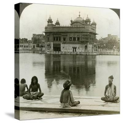 Fakirs at Amritsar, Looking South across the Sacred Tank to the Golden Temple, India, C1900s-Underwood & Underwood-Stretched Canvas Print