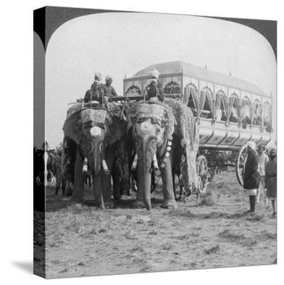 Richly Adorned Elephants and Carriage of the Maharaja of Rewa at the Delhi Durbar, India, 1903-Underwood & Underwood-Stretched Canvas Print
