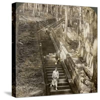 Ancient Stone Stairway Up the Hill to the Tomb of Shogun Ieyasu, Nikko, Japan, 1904-Underwood & Underwood-Stretched Canvas Print