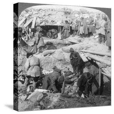 Russians Burying Japanese Dead Inside a Fort, Port Arthur, Manchuria, Russo-Japanese War, 1905-Underwood & Underwood-Stretched Canvas Print