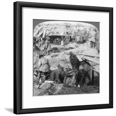 Russians Burying Japanese Dead Inside a Fort, Port Arthur, Manchuria, Russo-Japanese War, 1905-Underwood & Underwood-Framed Giclee Print