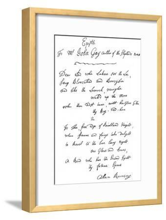 A Letter from Allan Ramsay to John Gay, 18th Century--Framed Giclee Print