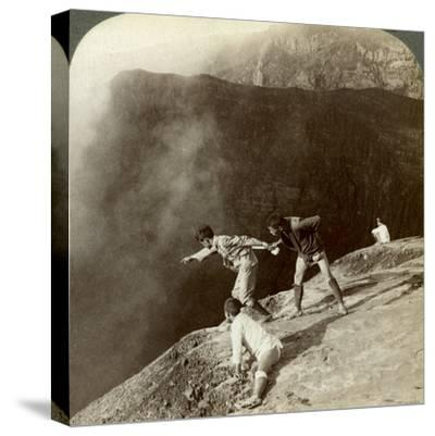 Gaving Through Sulphurous Vapors into the Crater's Depths, Aso-San, Japan, 1904-Underwood & Underwood-Stretched Canvas Print