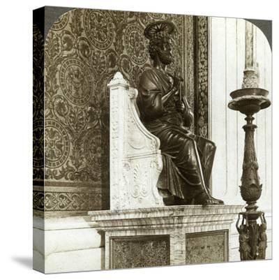 Statue of St Peter, St Peter's Basilica, Rome, Italy-Underwood & Underwood-Stretched Canvas Print