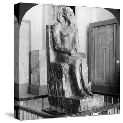 Diorite Statue of King Khafre, Builder of the Second Pyramid of Gizeh, Cairo, Egypt, 1905-Underwood & Underwood-Stretched Canvas Print