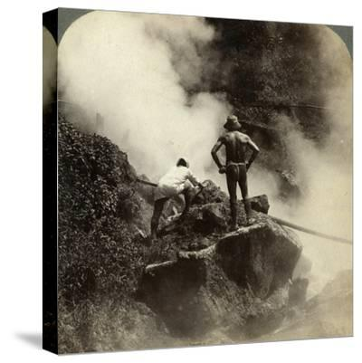 Watching an Eruption of Steam and Boiling Mud Halfway Up the Volcano of Aso-San, Japan, 1904-Underwood & Underwood-Stretched Canvas Print