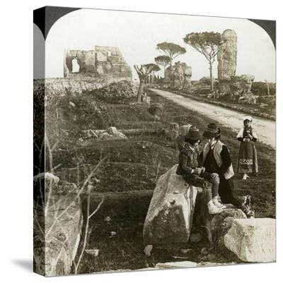 Tombs and Children in Traditional Dress, Appian Way, Rome, Italy-Underwood & Underwood-Stretched Canvas Print