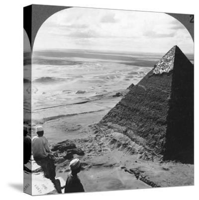 The Second Pyramid, Showing Part of the Original Covering, Egypt, 1905-Underwood & Underwood-Stretched Canvas Print