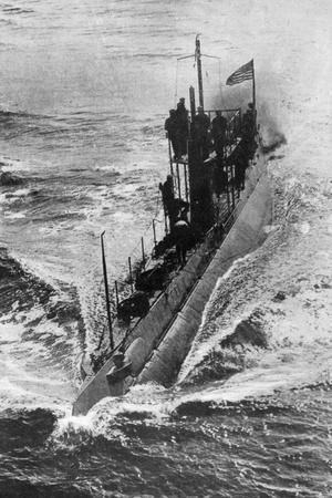 American Submarine 'Preparedness' at Full Speed, First World War, 1914-1918--Stretched Canvas Print