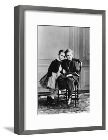 The Two Youngest Children of Tsar Alexander II and Maria Alexandrovna of Russia, C1863-C1865--Framed Giclee Print