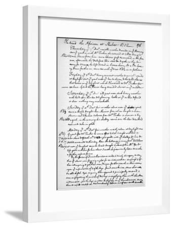 A Page from the Journal of John Newton, 1750-1754--Framed Giclee Print