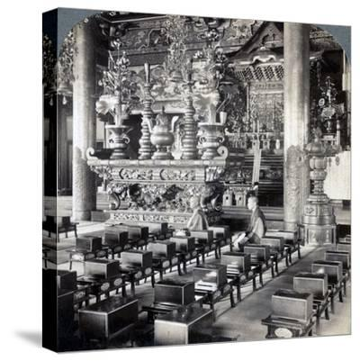 Buddhist Priests in Ikegami Temple, Omori, Japan, 1904-Underwood & Underwood-Stretched Canvas Print