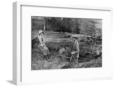 Lady Elizabeth Bowes-Lyon and the Duke of York at Her Hertfordshire Home Near Welwyn, 1923--Framed Giclee Print