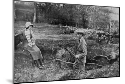 Lady Elizabeth Bowes-Lyon and the Duke of York at Her Hertfordshire Home Near Welwyn, 1923--Mounted Giclee Print