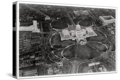 Aerial View of the Capitol, Washington Dc, USA, from a Zeppelin, 1928--Stretched Canvas Print