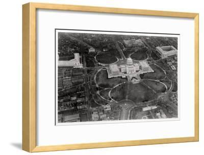 Aerial View of the Capitol, Washington Dc, USA, from a Zeppelin, 1928--Framed Giclee Print