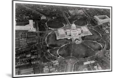 Aerial View of the Capitol, Washington Dc, USA, from a Zeppelin, 1928--Mounted Giclee Print