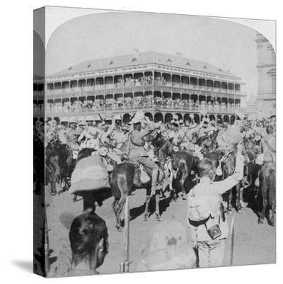 Field Marshal Lord Roberts and Staff Cheering the Queen, Pretoria, South Africa, 5th June 1900-Underwood & Underwood-Stretched Canvas Print