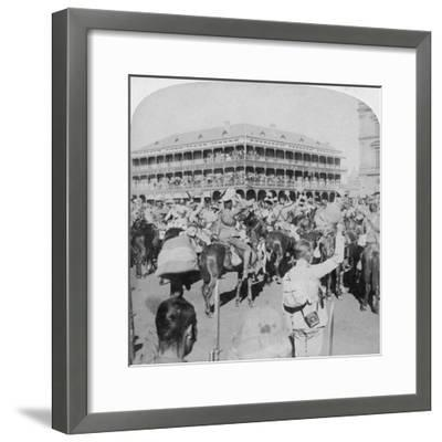 Field Marshal Lord Roberts and Staff Cheering the Queen, Pretoria, South Africa, 5th June 1900-Underwood & Underwood-Framed Giclee Print