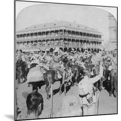 Field Marshal Lord Roberts and Staff Cheering the Queen, Pretoria, South Africa, 5th June 1900-Underwood & Underwood-Mounted Giclee Print