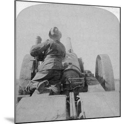 Training One of HMS Monarch's 4.7 Inch Guns on the Pretoria Forts, South Africa, 4th June 1900-Underwood & Underwood-Mounted Giclee Print