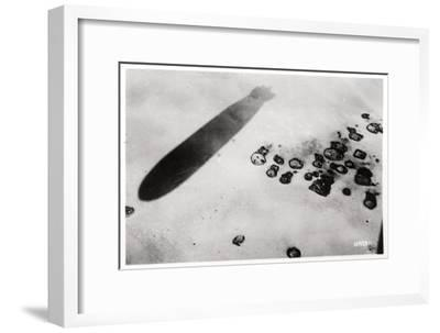 Aerial View of a Desert Settlement, with a Shadow Cast by a Zeppelin, 1931--Framed Giclee Print