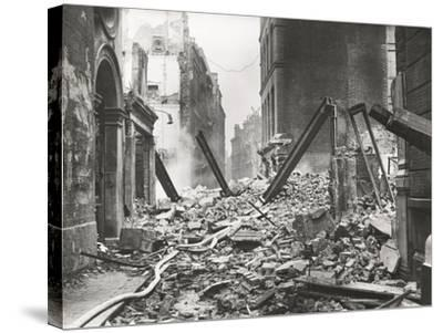 View Looking South Down Walbrook after an Air Raid, City of London, World War II, 1941--Stretched Canvas Print