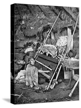 Araucanian Woman Weaving, Chile, 1922--Stretched Canvas Print