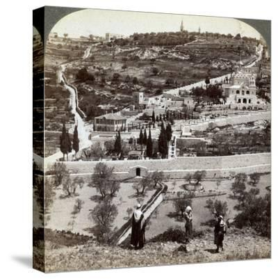The Garden of Gethsemane and the Mount of Olives, Palestine, 1908-Underwood & Underwood-Stretched Canvas Print