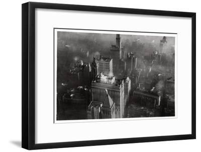 Aerial View of Manhattan, New York City, USA, from a Zeppelin, 1928--Framed Giclee Print