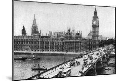 The Houses of Parliament and Westminster Bridge, London, 1926-1927--Mounted Giclee Print