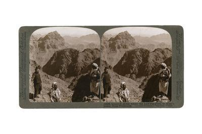 Mount of Moses, Where the Law Was Given to Israel's Leader, the Sinai Wilderness, 1900s-Underwood & Underwood-Framed Giclee Print