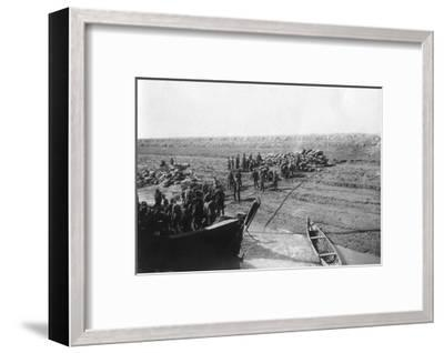 British Troops Unloading Dates on the Shore of the Tigris River, 1918--Framed Giclee Print