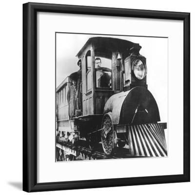 American Inventor Thomas Alva Edison on Board an Electric Railroad, 1892--Framed Giclee Print
