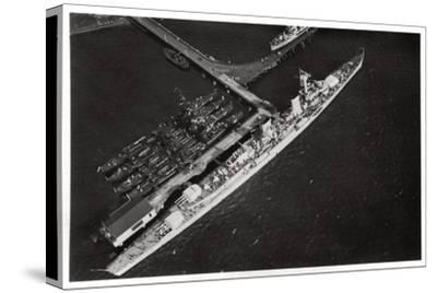 Aerial View of the German Light Cruiser 'Karlsruhe, from a Zeppelin, C1931--Stretched Canvas Print