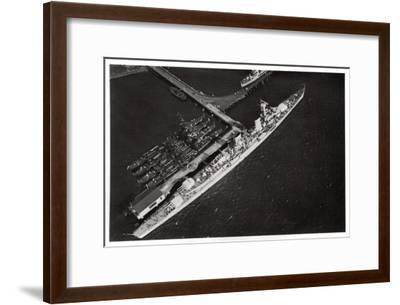 Aerial View of the German Light Cruiser 'Karlsruhe, from a Zeppelin, C1931--Framed Giclee Print