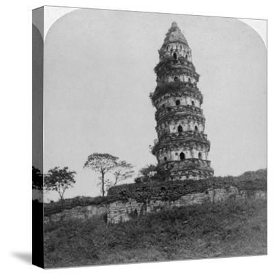 Tiger Hill Pagoda, the 'Leaning Tower, of Soo-Chow' (Suzho), China, 1900-Underwood & Underwood-Stretched Canvas Print