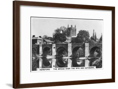 The Bridge over the Wye and Cathedral, Hereford, 1936--Framed Giclee Print