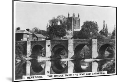 The Bridge over the Wye and Cathedral, Hereford, 1936--Mounted Giclee Print