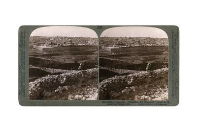 Jerusalem, as Seen from the South-East, Showing the Site of the Temple, Palestine, 1900s-Underwood & Underwood-Framed Giclee Print
