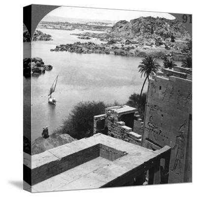 The Aswan Dam as Seen from the Philae Temple, Egypt, 1905-Underwood & Underwood-Stretched Canvas Print