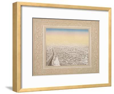 Aerial View of London Framed in a Decorative Border, C1845-Kronheim & Co-Framed Giclee Print