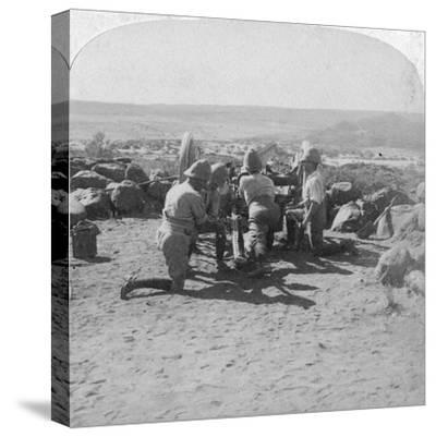 British Artillery in Action, South Africa, 2nd Boer War, 6 February 1900-Underwood & Underwood-Stretched Canvas Print