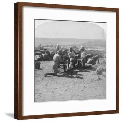 British Artillery in Action, South Africa, 2nd Boer War, 6 February 1900-Underwood & Underwood-Framed Giclee Print