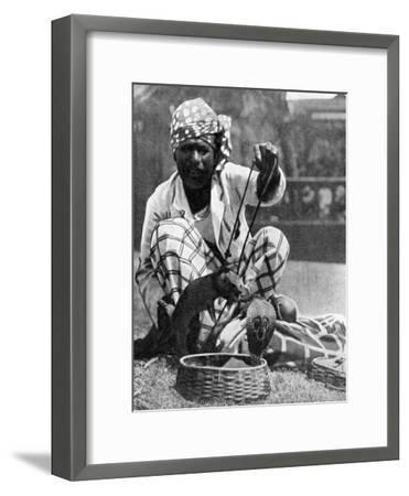 Indian Snake Charmer with Mongoose and Cobra, 1936--Framed Giclee Print